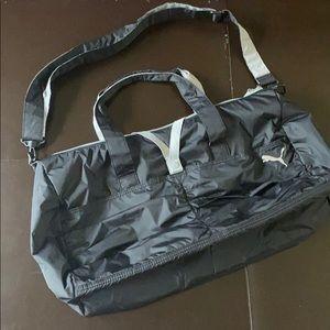 Puma Black and Gray Nylon Gym Bag